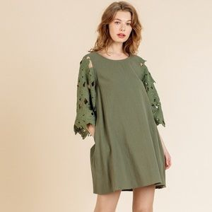 Umgee Bell Sleeve Dress with Pockets